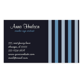 Stripes (Parallel Lines) - Blue Black Business Cards