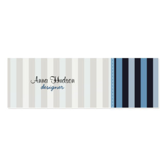 Stripes (Parallel Lines) - Blue Black Double-Sided Mini Business Cards (Pack Of 20)