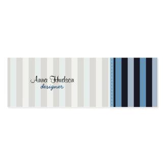 Stripes (Parallel Lines) - Blue Black Mini Business Card