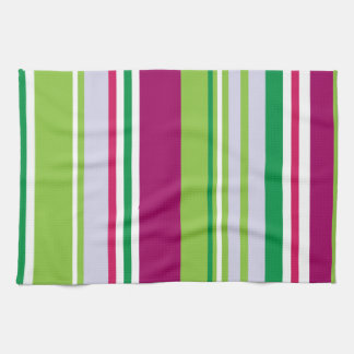 Stripes (Parallel Lines) - Blue Green Pink White Hand Towel
