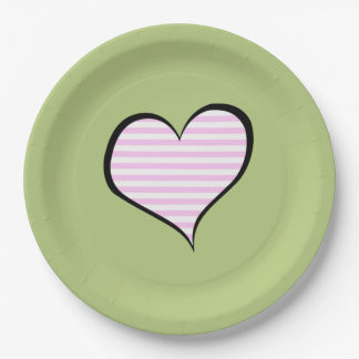 Stripes (Parallel Lines), Heart - Pink White Paper Plate