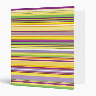 Stripes (Parallel Lines) - Orange Purple Green 3 Ring Binder