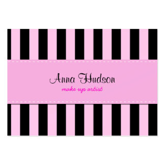 Stripes (Parallel Lines) - Pink Black Business Card Template