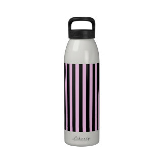 Stripes Parallel Lines - Pink Black Reusable Water Bottles