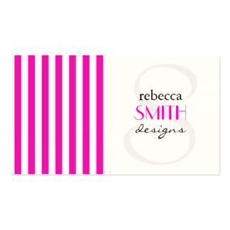 Stripes (Parallel Lines) - Pink White Double-Sided Standard Business Cards (Pack Of 100)