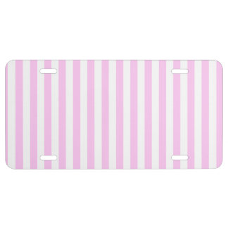 Stripes (Parallel Lines) - Pink White License Plate
