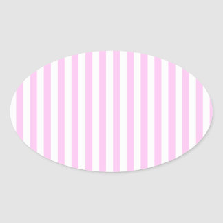 Stripes Parallel Lines - Pink White Oval Sticker
