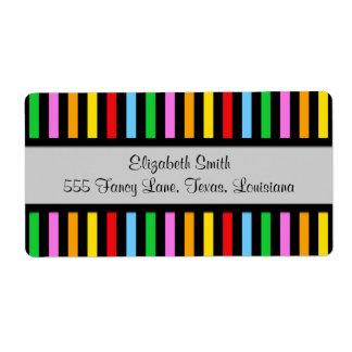 Stripes (Parallel Lines) - Red Blue Green Pink Personalized Shipping Label