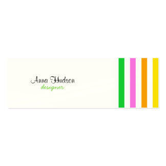 Stripes (Parallel Lines) - Red Blue Green Pink Mini Business Card