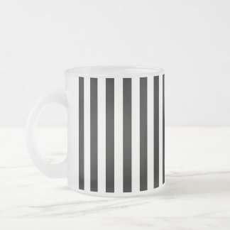 Stripes (Parallel Lines) - White Black 10 Oz Frosted Glass Coffee Mug