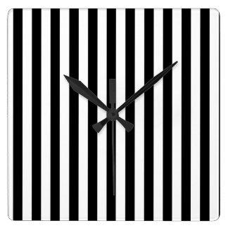 Stripes Parallel Lines - White Black Wallclock