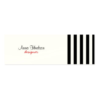 Stripes (Parallel Lines) - White Black Double-Sided Mini Business Cards (Pack Of 20)