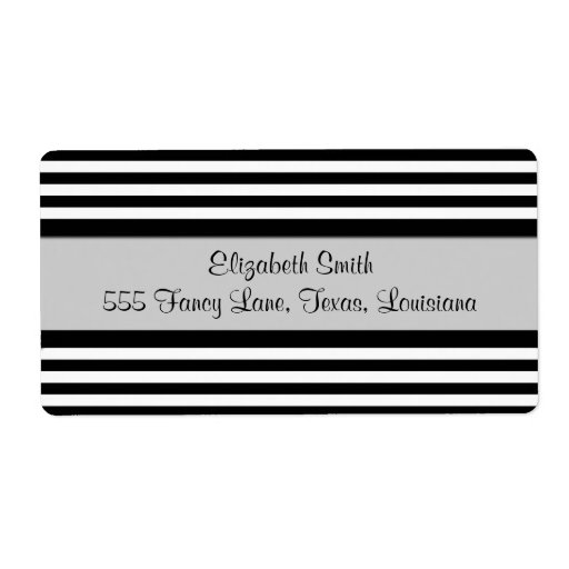 Stripes (Parallel Lines) - White Black Custom Shipping Label