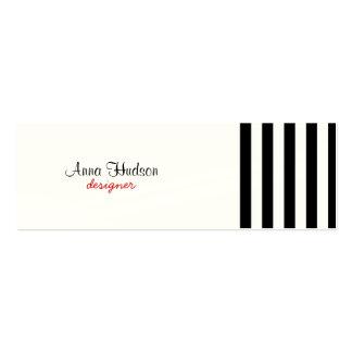 Stripes (Parallel Lines) - White Black Mini Business Card