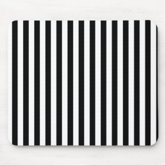 Stripes (Parallel Lines) - White Black Mouse Pad