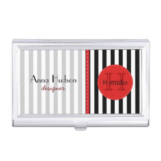 Stripes (Parallel Lines) - White Black Business Card Holders