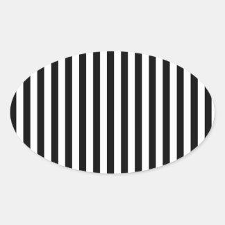 Stripes Parallel Lines - White Black Oval Sticker