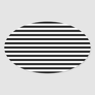 Stripes Parallel Lines - White Black Oval Stickers