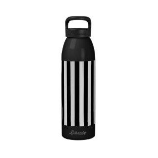 Stripes Parallel Lines - White Black Drinking Bottles