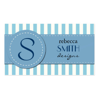 Stripes (Parallel Lines) - White Blue Business Cards
