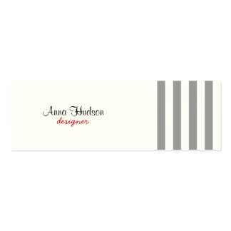 Stripes (Parallel Lines) - White Gray Mini Business Card