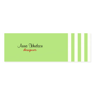 Stripes (Parallel Lines) - White Green Business Card