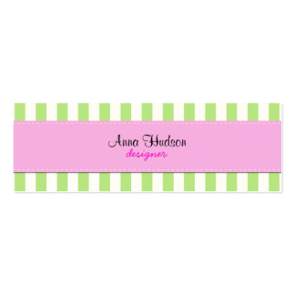 Stripes (Parallel Lines) - White Green Pink Mini Business Card