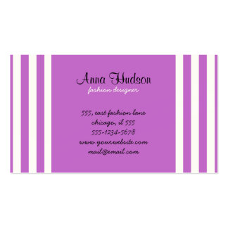 Stripes (Parallel Lines) - White Purple Business Card