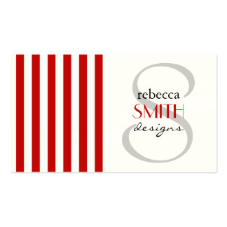 Stripes (Parallel Lines) - White Red Business Card