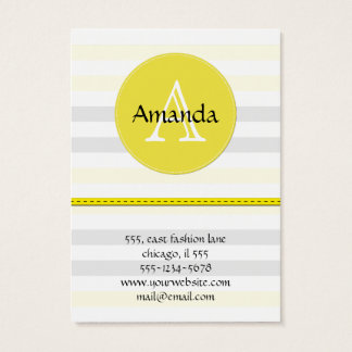 Stripes (Parallel Lines) - Yellow Gray White Business Card