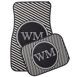 Stripes Pattern black & white + your monogram Car Floor Mat