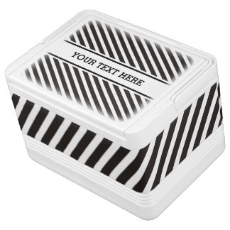 Stripes Pattern black & white   your text Drink Cooler
