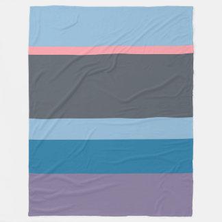 Stripes pattern blue pink purple fleece blanket