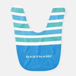 Stripes Pattern custom monogram baby bib
