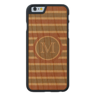 Stripes Pattern custom monogram cases Carved® Cherry iPhone 6 Slim Case