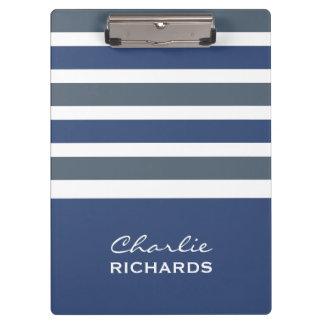 Stripes Pattern custom monogram clipboard