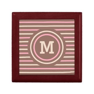 Stripes Pattern custom monogram gift / jewelry box
