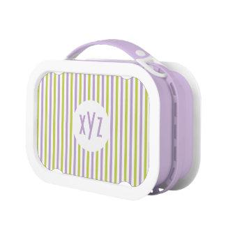 Stripes Pattern custom monogram lunch boxes