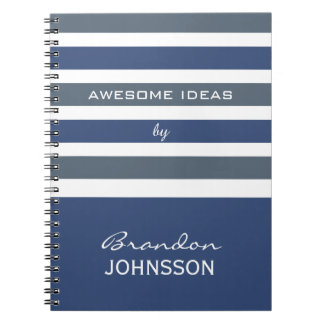 Stripes Pattern custom monogram notebook