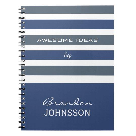 Stripes Pattern Custom Monogram Notebook Zazzle Com