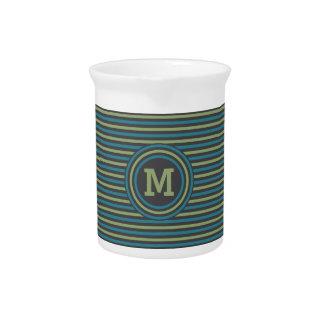 Stripes Pattern custom monogram pitcher