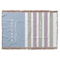 Stripes Pattern custom monogram throw blanket