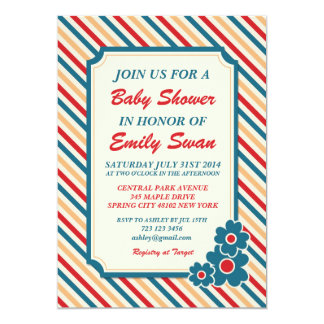 Stripes Pattern Cute Baby Shower Invitation Card