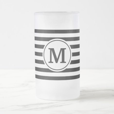 Stripes Pattern Frosted Glass Beer Mug
