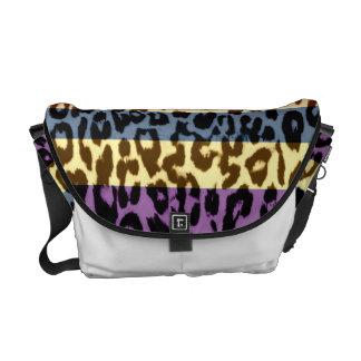 Stripes pattern leopard fur abstract texture messenger bags