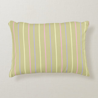 Stripes pattern, sand brown, yellow pink lilac accent pillow