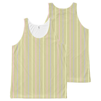 Stripes pattern, sand brown, yellow pink lilac All-Over-Print tank top