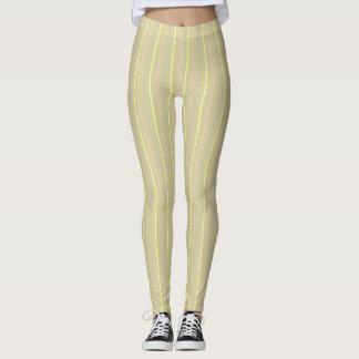 Stripes pattern, sand brown, yellow pink lilac leggings