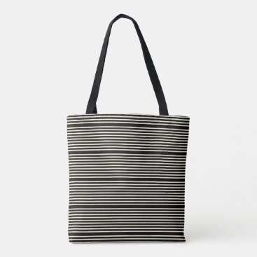 Beach Themed Stripes pattern two tone black cream tote bag