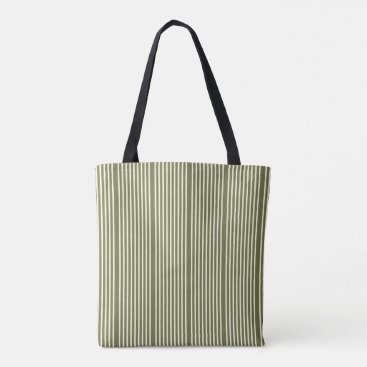 Beach Themed Stripes pattern two tone moss green cream tote bag